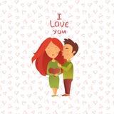 Cartão com feriado do dia do ` s do Valentim Imagens de Stock Royalty Free