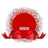Cartão com fita e curva vermelhas Ilustração do vetor ilustração stock
