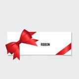 Cartão com fita e curva vermelhas Ilustração do vetor ilustração royalty free