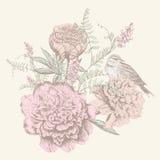 Cartão com flor do birdand Fotos de Stock