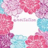 Cartão com flores das peônias Imagens de Stock Royalty Free