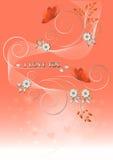 Cartão com flores e borboletas ao dia de Valentim. Fotos de Stock