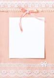 Cartão com a folha de papel em branco Fotografia de Stock