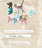 Cartão com folhas de outono. Ilustração Royalty Free