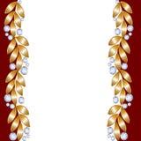 Cartão com folhas douradas Foto de Stock