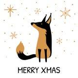 Cartão com Fox bonito tirado mão e Xmas alegre da inscrição ilustração stock