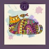 Cartão com gato decorativo Fotos de Stock Royalty Free