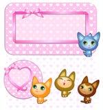 Cartão com gatos Imagens de Stock