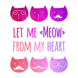 Cartão com gatos coloridos Imagens de Stock Royalty Free