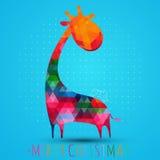 Cartão com girafa Imagens de Stock