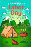 Cartão com grade do assado e uma barraca de acampamento ilustração stock