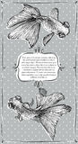 Cartão com ilustração da aquarela do vetor do peixe dourado Foto de Stock Royalty Free