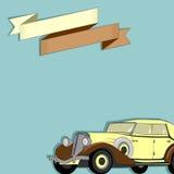 Cartão com a imagem de um carro e de uma fita retros Fotografia de Stock Royalty Free