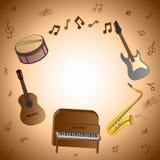 Cartão com instrumentos musicais Fotografia de Stock