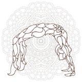 cartão com ioga do ornamento da pose Foto de Stock