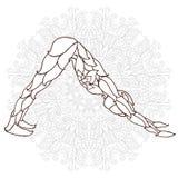 cartão com ioga do ornamento da pose Fotografia de Stock Royalty Free