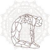 cartão com ioga do ornamento da pose Imagens de Stock