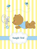 Cartão com jogo do urso de peluche e do MOU Fotografia de Stock