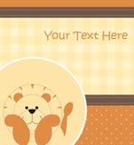 Cartão com leão dos desenhos animados Foto de Stock Royalty Free