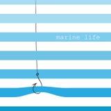 Cartão com listras marinhas Fotos de Stock