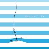 Cartão com listras marinhas Imagens de Stock Royalty Free