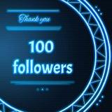 Cartão com luz - o texto de néon azul agradece-lhe cem followe 100 Foto de Stock Royalty Free
