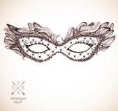 Cartão com máscara venetian festiva Fotos de Stock