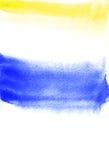 Cartão com manchas amarelas e do azul Pintura da aquarela para o projeto Imagem de Stock Royalty Free