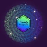 Cartão com mandala do fulgor Fundo do vetor Elemento geométrico do círculo Islã, árabe, indiano, turco, chineses, motivos do otom Imagem de Stock Royalty Free