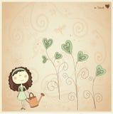 Cartão com menina bonita Fotografia de Stock Royalty Free
