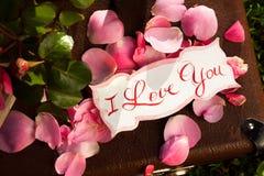 Cartão com mensagem 'amor você' escrito à mão e Imagens de Stock Royalty Free