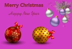 Cartão com Natal e ano novo Fotografia de Stock Royalty Free