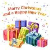 Cartão com Natal e ano novo Coleção dos presentes watercolor Foto de Stock Royalty Free