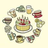 Cartão com o bolo da garatuja e os copos de chá tirados mão Fotografia de Stock