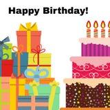 Cartão com o bolo doce para a celebração do aniversário Imagem de Stock