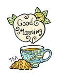 Cartão com o copo da garatuja do chá e do fumo Imagens de Stock
