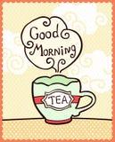 Cartão com o copo do bom dia do chá e da nota Foto de Stock