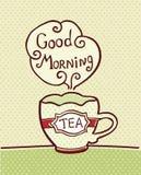 Cartão com o copo do chá no fundo textured Imagem de Stock Royalty Free