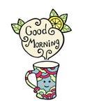 Cartão com o copo do smiley do bom dia do chá e do texto Fotos de Stock