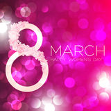 Cartão com o 8 de março, dia do ` s das mulheres no fundo do bokeh, ilustração do vetor Fotos de Stock Royalty Free