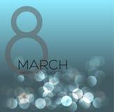 Cartão com o 8 de março, dia do ` s das mulheres no fundo do bokeh, ilustração do vetor Foto de Stock