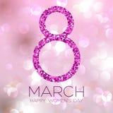 Cartão com o 8 de março, dia do ` s das mulheres no fundo do bokeh, ilustração do vetor Fotografia de Stock Royalty Free