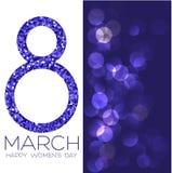 Cartão com o 8 de março, dia do ` s das mulheres no fundo do bokeh, ilustração do vetor Imagens de Stock Royalty Free