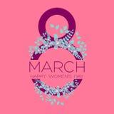 Cartão com o 8 de março, dia do ` s das mulheres, vetor Fotos de Stock Royalty Free