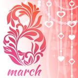 Cartão com o 8 de março Fonte decorativa com redemoinhos e elementos florais ilustração stock