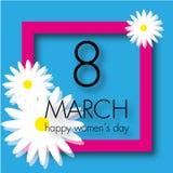Cartão com o cartão do 8 de março com as flores no fundo azul Fotografia de Stock