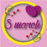 Cartão com o cartão do 8 de março com as flores no fundo cor-de-rosa Fotografia de Stock