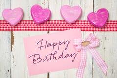 Cartão com o feliz aniversario da inscrição Imagem de Stock