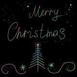 Cartão com o Feliz Natal da inscrição Fotos de Stock Royalty Free