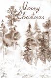 Cartão com o Feliz Natal da inscrição Paisagem do marrom do inverno da ilustração tirada mão da aquarela da floresta da neve fotografia de stock